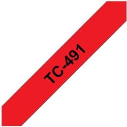 Ruban d'étiquettes TC491 Noir/Rouge