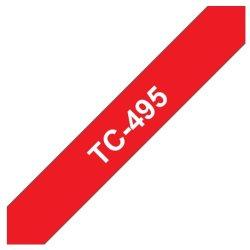 Ruban d'étiquettes TC495  blanc / rouge
