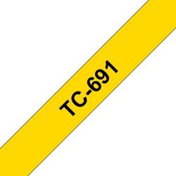 Ruban d'étiquettes TC691 Noir/Jaune