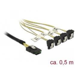 Cable Mini SAS SFF-8087 > 4 xSata 7 coudé 0.5m
